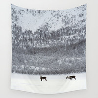 White tapestry, reindeer tapestry, wall tapestry, large wall hanging, minimalist tapestry,black and white, oversized, snowy mountain, winter