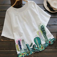 Round Collar Cacti Embroidered Blouse