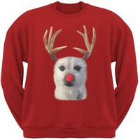 ONETOW Funny Reindeer Dog Ugly Christmas Sweater Red Sweatshirt