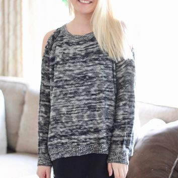 Cold Shoulder Chiffon Sweater