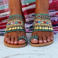 Fashion Fashion Wind Metal Decorative Flat Bottom Lady Toe Sandals Green