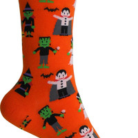 Happy Monsters Crew Socks in Orange