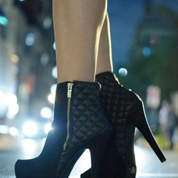 Quilted Craze Platform Stiletto Ankle Booties - Black from Qupid at Lucky 21