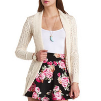 LONG OPEN CABLE KNIT CARDIGAN SWEATER