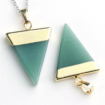 1 Piece Fashion Natural Stone Pendant Triangle Opal pink Quartz Green Aventurine Gem Stone Healing Chakra Pendant Fit Necklace
