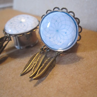 """Dreamcatcher Plugs w/ Feather Charms - Handmade Girly Gauges - 8g,  6g, 4g, 2g, 0g, 00g, 7/16"""", 1/2"""", 9/16"""", 5/8"""", 3/4"""", or Post Earrings"""