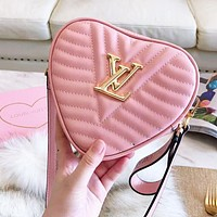 Louis Vuitton LV high quality new fashion love heart leather shoulder bag Pink