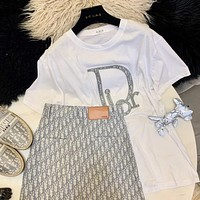 DIOR summer classic letters Diou thorn show big standard women's cotton short-sleeved T-shirt
