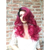 Fuschia Ombré Human Hair Blend Multi Parting lace front wig 20' 417175