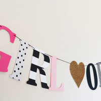 GIRL OR BOY banner, Kate Spade inspired! Baby shower, special occasion, baby girl, Gender reveal baby shower, new addition, baby  boy