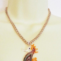 glass seahorse necklace, seahorse pendant, orange lampwork glass, gold chain, sea horse jewelry, animals sealife handmade