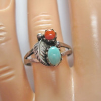 Vintage Turquoise Coral Native American Sterling Ring Sz 8