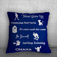 Disney Peter Pan, Lion King, Beauty and The Beast, Finding Nemo, Lilo and Stich Quote for Square Pillow Case 16x16 Two Sides, 18x18 Two Sides, 20x20 Two Sides