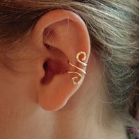 14K Gold Ear Cuff Single Or Sterling Silver Ear Cuff, Hand Hammered and just gorgeous ear cuffs are SO trendy and sexy
