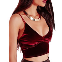 2017 Summer Sexy Women's Velet Tank Tops Vest Crop Top Bralette Shirt Blouse [10451205007]