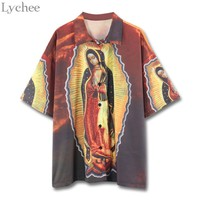 Lychee Harajuku Summer Women Blouse Virgin Mary Print Casual Loose Turn Down Collar Shirt Tops Female