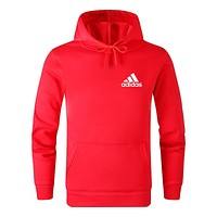 Adidas Autumn And Winter New Fashion Bust Letter Print Women Men Leisure Hooded Long Sleeve Sweater Red