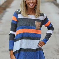 All About Stripes Knit Top with Suede Pocket ~ Neon Orange
