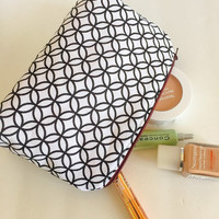 Cosmetic Bag, Toiletry Bag, Makeup Bag, Geometric Zipper Pouch - Black and White, Corn Yellow Lining