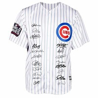 Men's Jersey Chicago Cubs 2016 World Series Signs Collection Bound Flexbase Jersey UBS Short Sleeve Striped T-shirt