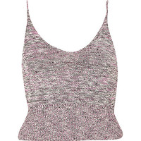River Island Womens Pink marl knitted cami crop top