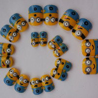 Despicable Me minion false nails by KatiesNails on Etsy