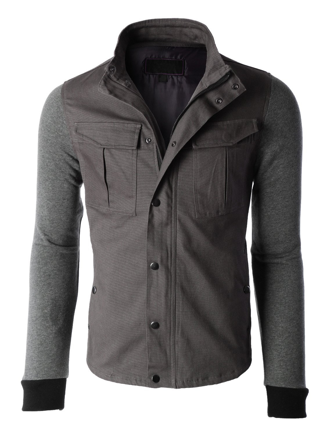Image of Mens Stand Collar Zip Up Military Jacket (CLEARANCE)