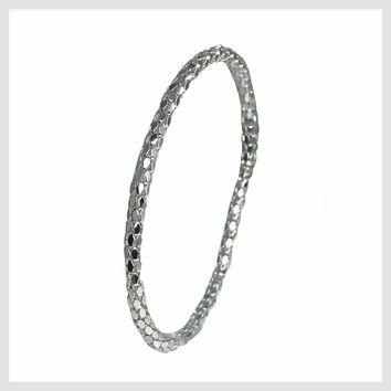 925 Sterling Silver Plated Mesh Chain Stretch Bracelet (Silver 4mm Hexagon Links)