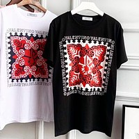 Valentino Women Casual Print Short Sleeve Round Collar T-Shirt Top Blouse