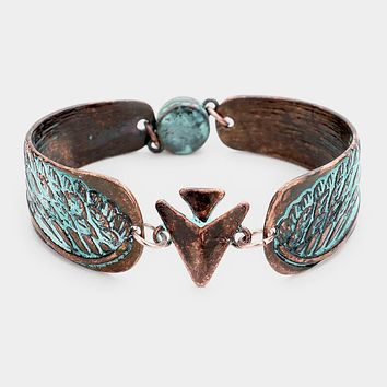 Abstract Wing Filigree Metal Linked Magnetic Bracelet