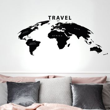 Vinyl Wall Decal World Atlas Map Travel Adventure Geography Stickers Mural 35 in x 17.5 in gz276