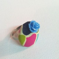 The Queens Garden Fabric Button Ring from Kute As a Button Shop