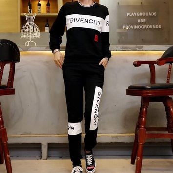 """Givenchy"" Women Casual Fashion Multicolor Letter Round Neck Long Sleeve Trousers Set Two-Piece Sportswear"