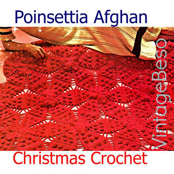 Afghan Crochet PATTERN • Christmas Poinsettia Afghan Crochet Pattern • Vintage 1970s • Heritage Afghan • Instant Download • PDF Pattern