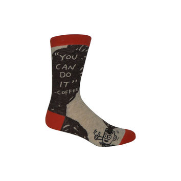 Coffee Pep Talk Crew Socks in Brown