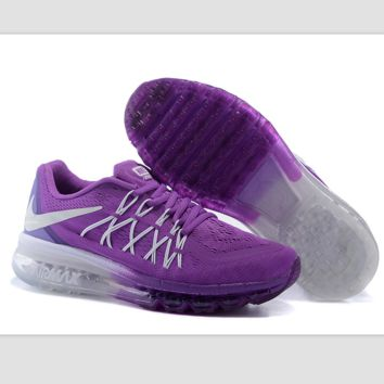 """""""NIKE"""" Trending AirMax Behind the hook section rainbow knited line Fashion Casual Sports Shoes Purple white hook (purple white soles)"""