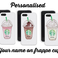 iPhone 4/4S or 5/5S Personalised Starbucks Frappuccino coffee choc straw vanilla phone case black or white cover for mobile