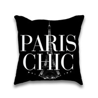 Paris Chic Eiffel Tower Print Throw Pillow