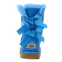 UGG Women Bow Fur Leather Boots In Tube Boots Shoes-1