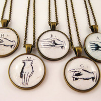 Personalized Sign Language Initial Necklace