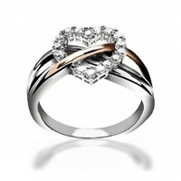 Bling Jewelry Sterling Silver Pave CZ Heart Ring with Gold Vermeil Accent: Jewelry: Amazon.com