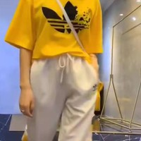 """Adidas"" Woman's Leisure  Fashion Letter Printing Spell Color Short Sleeve Trousers Two-Piece Set Casual Wear"
