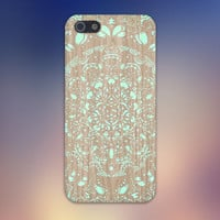 Turquoise Mandala x Lace Wood Design Case for iPhone 6 6 Plus iPhone 5 5s 5c iPhone 4 4s Samsung Galaxy s5 s4 & s3 and Note 4 3 2