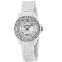 FOSSIL Womens Riley White Resin Quartz Watch with Crystals