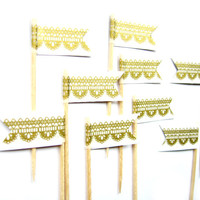 12 Gold & White Lace Flag Cupcake Toppers - Washi Tape Cupcake Toppers, wedding, engagement, birthday, baby shower, tea party