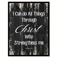 I can do all things through christ who strengthens me philippians 4:13 Religious Quote Saying Canvas Print with Picture Frame Home Decor Wall Art