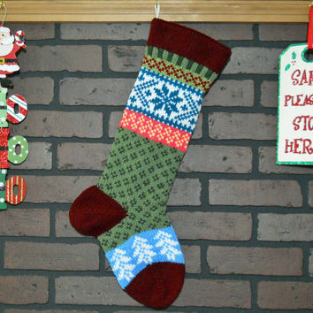 Personalized Hand Knit Christmas Stocking in Burgundy with Teal Snowflake and white Trees, Fair Isle Christmas Stocking, Housewarming Gift