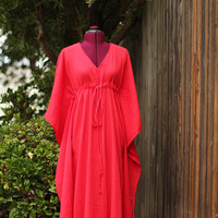 Caftan Dress in Red Cotton Gauze by mademoisellemermaid on Etsy