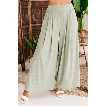 Stroll On Over High Waisted Textured Wide Leg Pants (Olive)