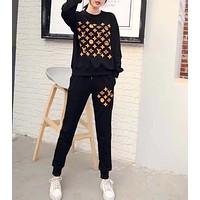 """""""LOUIS VUITTON"""" Woman Leisure Fashion Letter Smiley Printing Hedging Crew Neck Long Sleeve Tops Trousers Two-Piece Set Casual Wear Sportswear"""